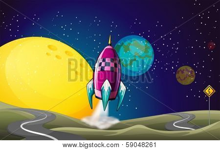 Illustration of a spaceship in the outerspace near the moon