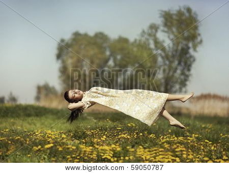 Levitation Girls Over The Field.