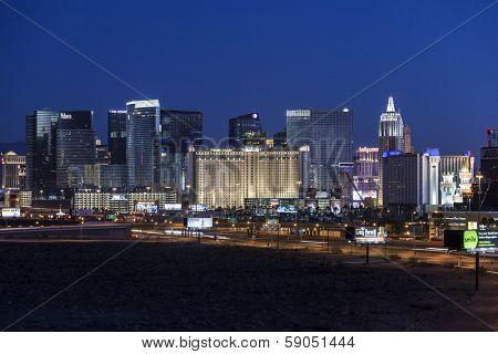 LAS VEGAS, NEVADA - November 30, 2013:  Predawn view of Monte Carlo, New York, New York and other Las Vegas strip casino resorts.