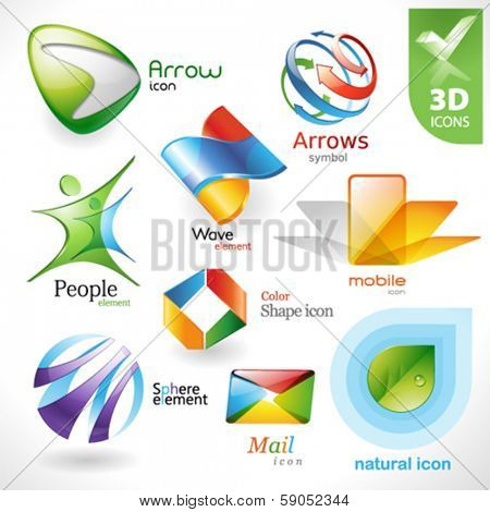 Set of vector design elements 21. 3D icons.