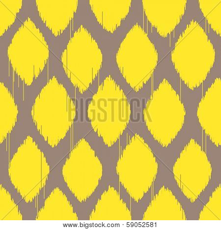 Ikat yellow rhomb seamless pattern