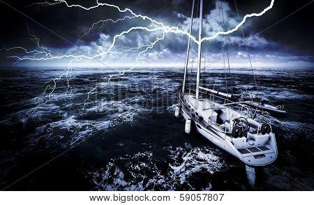 Stormy marina with rough sea