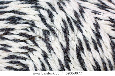 skein of yarn black and white melange closeup