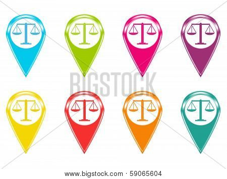 Set of justice scale icons or colored markers on maps