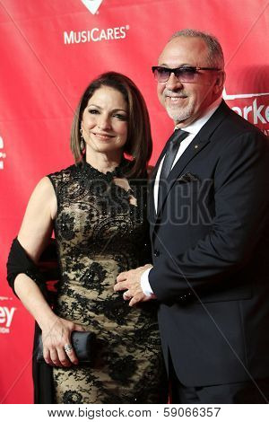 LOS ANGELES - JAN 24: Gloria Estefan,  Emilio Estefan at the 2014 MusiCares Person Of The Year event at the Convention Center on January 24, 2014 in Los Angeles, CA