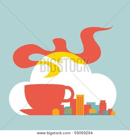 Flat Style Illustration Modern City With Cup Of Coffee And Cloud