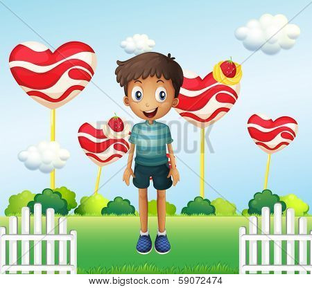 Illustration of a smiling young boy standing in the garden with giant heart lollipops