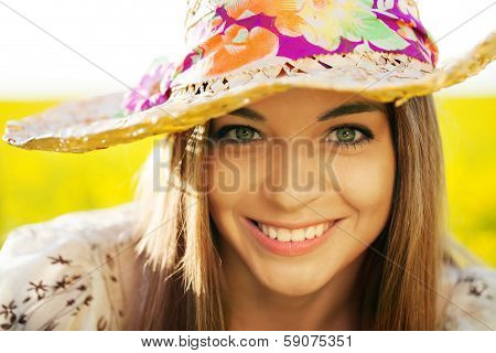 Happy Woman In A Wicker Hat