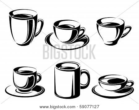 Set of tea and coffee cups. Vector black silhouettes.