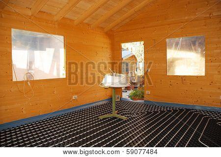 Underfloor Heating System In Wooden House