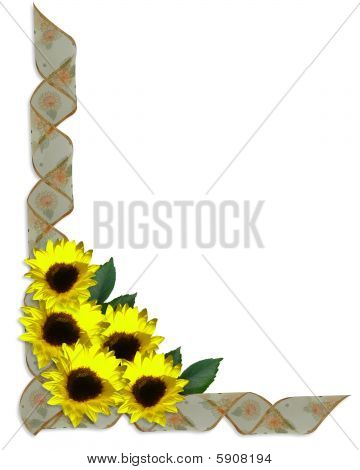 Floral Corner Design sunflowers ribbons