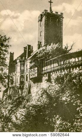 EISENACH, GERMANY, CIRCA FIFTIES - Vintage photo of Wartburg Castle