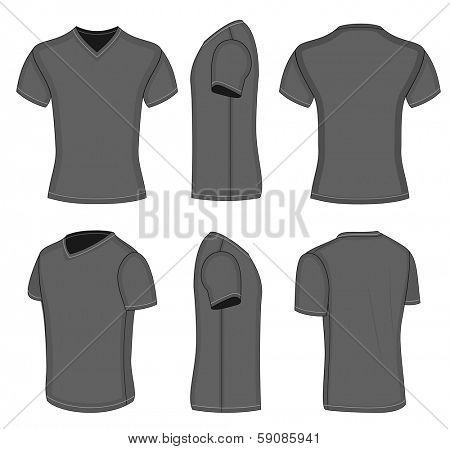 All views men's black short sleeve t-shirt v-neck design templates (front, back, half-turned and side views). Vector illustration. No mesh. Redact color very easy!