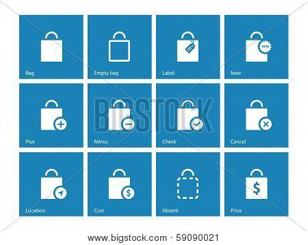 Shopping bag icons on blue background.