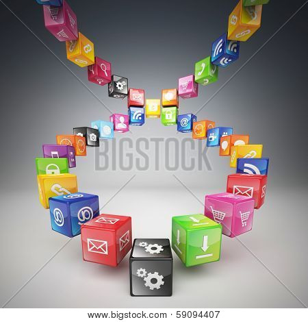 3d cubes and smart icon