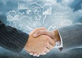Composite image of business handshake against signpost showing the direction of the future poster