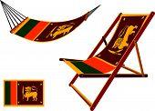 sri lanka hammock and deck chair set against white background abstract vector art illustration poster