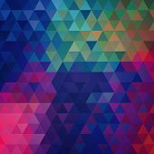 Abstract raster bright polygonal triangle ornamental background. poster