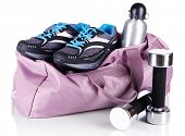Sports bag with sports equipment isolated on white poster