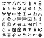 Health and Fitness icons on white background poster