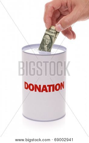 Donation collection box with hand donating money concept for charity  and relief work, help and support poster