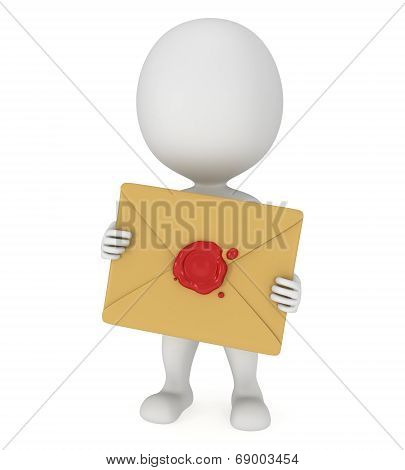 3D Man And Mail Envelope With Red Wax Seal