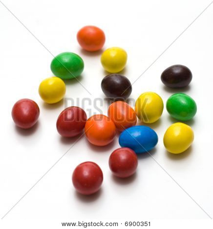 Colorful Gum Balls Isolated On White Background