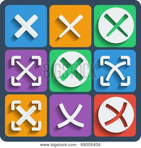 Set Of 9 Check Marks Web And Mobile Icons. Vector.