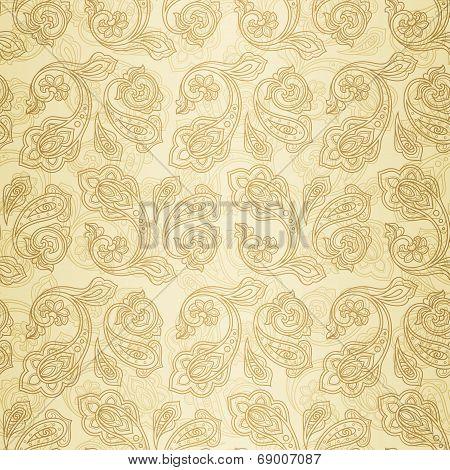 Turkish cucumber seamless ornate pattern gold beige background poster