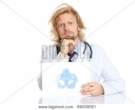 Funny psychotherapist holding Rorschach test
