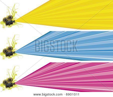 three color film projector pattern design,vector illustration. poster