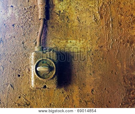 Old Electric Switch On Concrete Wall