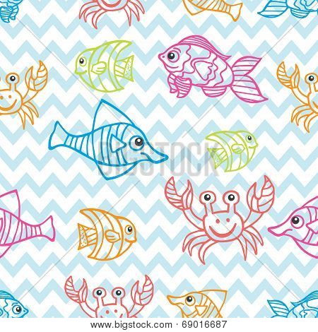 poster of Doodle seamless pattern.Set of Funny Sea Life and Fish.Colored  Outline fish on zigzag background.