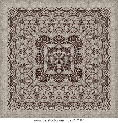 Seamless artistic background, abstract graphic pattern on vintage linen canvas poster