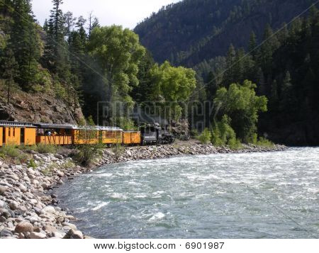 Train along river