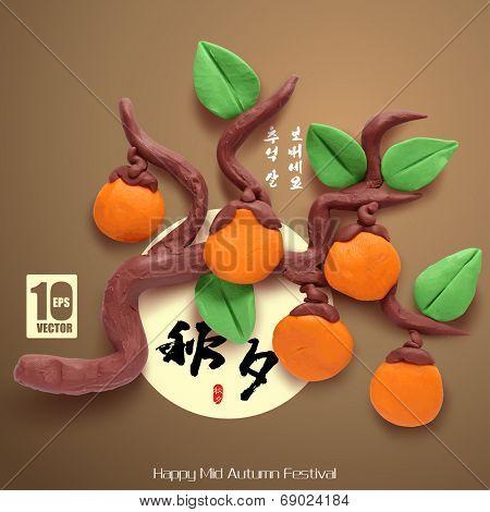 Vector Clay Persimmons of Mid Autumn Festival. Translation, Main: Chuseok (Mid Autumn Festival), Second: Happy Mid Autumn Festival, Stamp: Blessed Feast.