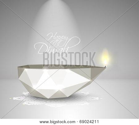 Vector Polygonal Diwali Diya (Oil Lamp).
