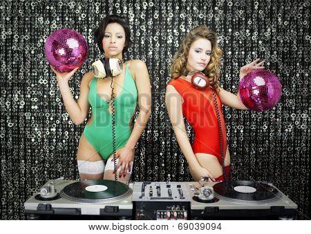 Two Beautiful Sexy Disco Dj Women In Bikinis Performing In A Club Setting