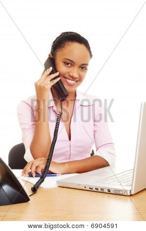 Smiley Woman Talking On The Phone