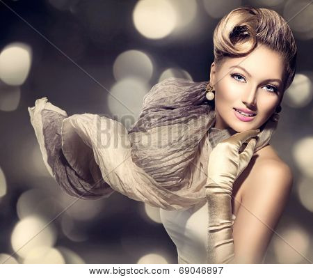 Glamourous Retro Woman Portrait. Beauty Glamour Lady with long blowing scarf. Golden gloves. Vintage styled Girl with perfect make up and hairstyle over Holiday blinking background. Luxury Accessories