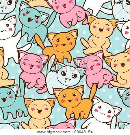 Seamless kawaii cartoon pattern with cute cats.