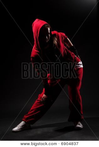 Stylish Hip Hop Girl In Red