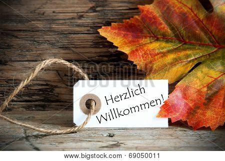 Autumn Label With Herzlich Willkommen