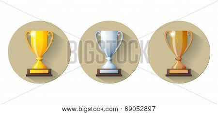 Vector gold, silver and bronze winners cup Flat Icon.