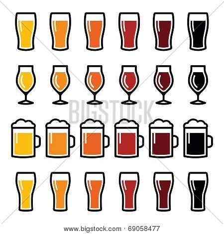 Beer glasses different types icons - lager, pilsner, ale, wheat beer, stout
