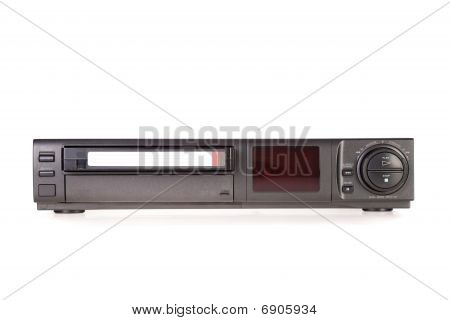 Old Video Cassette Recorder ejecting tape