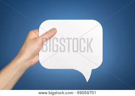 Hand Holding An Empty Speech Bubble