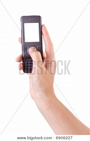 Hand photographing with mobile phone isolated on white