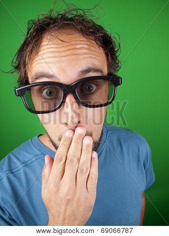 Thirty Year Old Man With 3D Glasses Watching A Movie