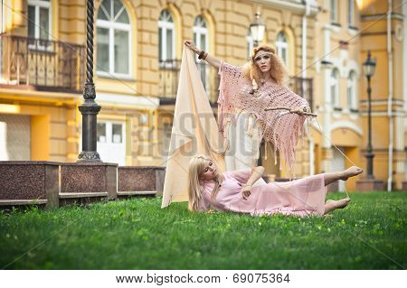 two girls on the street, the wicked witch poster